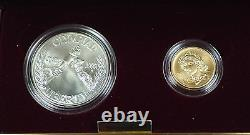 1988 US Mint Olympic Commemorative 2 Coin Silver & Gold UNC Set as Issued