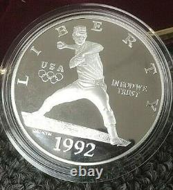 1992 3-Coin Commemorative Olympic Proof Set GOLD & SILVER $1 NOLAN RYAN