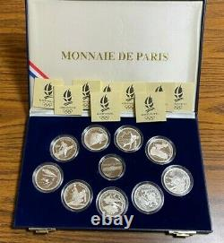 1992 Albertville Olympic silver proof 9-coin set-Free Shipping
