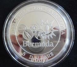 1992 Fine Silver Proof 5oz Bermuda $5 Coin Box + Coa Olympics 1/1000 Royal Mint