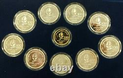 1992 France Albertville Olympics 10 Coin Gold and Silver Proof Set