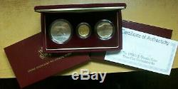 1992 U. S. OLYMPIC COINS, $5 Gold proof, $1 silver 50 cents clad