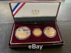 1992 US Mint Olympic Commemorative 3 Coin Silver & Gold Proof Set
