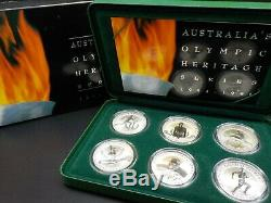 1994 -1996 Australia's Olympic heritage series $10 coin set, FROSTED UNC SILVER