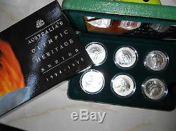 1994 1996 Complete Set $10 Olympic 6 x SILVER PROOF Coins IN CASE OF ISSUE