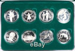 1995-1996 Atlanta Olympic 8-Coin Commemorative Proof Dollar Set Silver with Box