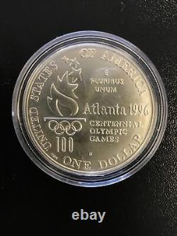1996-D Atlanta Olympic High Jump Commemorative Silver Dollar Unc Coin No Box