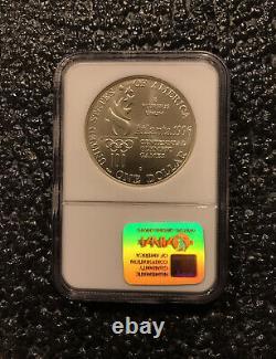 1996-D USA Atlanta Olympics $1 High Jump Silver Dollar Coin NGC MS 70 RARE