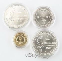 1996 US Mint 4 Coin UNC Set Atlanta Olympic Games Gold & Silver with Cauldron
