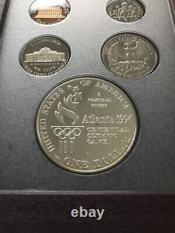 1996 US Mint Prestige Proof Set with Box & COA US Olympic Coins Silver Dollar