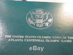 1996 Us Atlanta Olympic 8 Coin Silver Proof Set Case & Coa Olp23