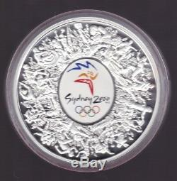 2000 1kg Coloured Silver $30 Sydney Olympic Coin Wooden display Case certificate