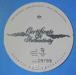 2000 Australia Sydney Olympic $30 One 1 Kilo. 999 Silver Coin with Wood Box & COA