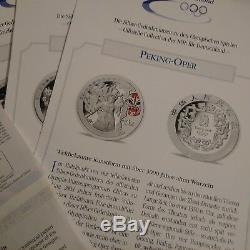 2008 BEIJING OLYMPICS 1OZ SILVER PROOF COINS SERIES l II & III WITH GERMAN COA'S