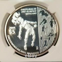 2008 Mexico Silver 5 Pesos Olympic Disciplines Ngc Pf 69 Ultra Cameo Scarce Coin