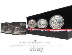 2009 Silver Proof London 2012 Olympic 3 Coin Set £5 Royal Mint Piedfort
