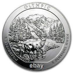 2011 5 oz Silver Coin ATB Olympic National Park, WA in capsule