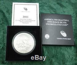 2011 Olympic Park ATB 5 Ounce. 999 Fine Silver Quarter, SP Strike, Box & COA