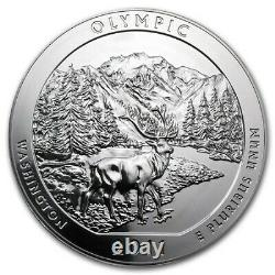 2011-P ATB 5 oz Silver Coin Burnished Olympic National Park Washington with OGP