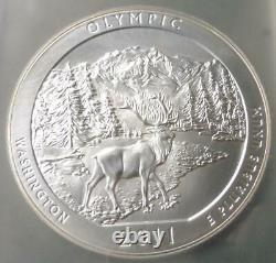 2011 PCGS MS69 PL Olympic National Park 5oz. 999 Silver Quarter, Mercanti Signed