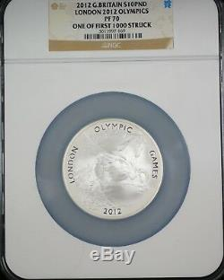 2012 Great Britain 10 Pound London Olympic Games Silver Coin NGC PF-70 Box COA