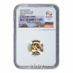 2014 Rio Brazil Olympic 5 Coin Gold and Silver Proof Coin Set NGC PF69