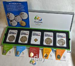2016 Rio Olympic Brazil Gold & Silver 5 Coin PR Set NGC PF70 Ultra Cam Series 1