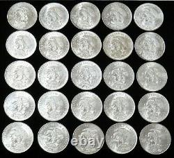 25 Coin Roll 1968 Silver Mexico 25 Peso Mint State Mayan Dancer Olympic Coins