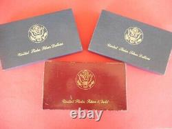 3 3 Coin 1983-4 Gold & Silver Olympic Coin Sets, with first $10 Gold W Mint Mark