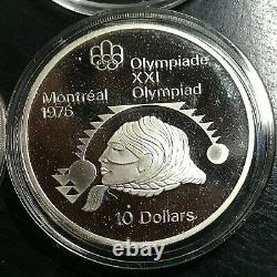 5.78 Oz Silver Lot Of 4 Canada $10 1976 Olympic Proof Crowns