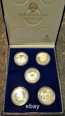 5 pc 250 Dinara 1984 Sarajevo Olympic Silver Yugoslavia Proof Coin Set with Case