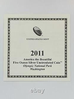 America the Beautiful Five Ounce Silver Uncirculated Coin-Olympic Nat'l Park