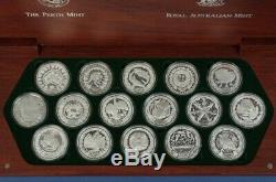Australia 2000 $5 Olympics set of 16 x 1oz Pure Silver, Cat $930 in wooden case