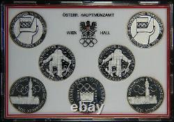 Austria Coin set 7x 100 Schilling silver 1976 Innsbruck Winter Olympics Proof