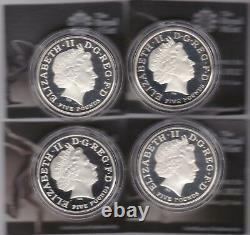 Boxed 4 Coin Silver Proof Piedfort £5 London Olympic Countdown Set & Certificate