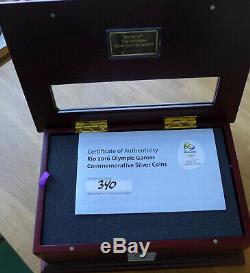 Brazil 5 Reais Rio Olympics Silver 16 Coin Collection in case with COA Rare