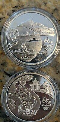 Brazil Silver 5 Reais 2015 2016 Rio Olympic Games 4 Coin Set 25000 Mintage total