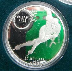 Canada 1988 Calgary Olympic Winter Games Sterling Silver Coins Set 10 Pcs