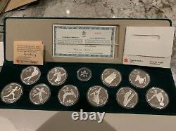 Canada 1988 Calgary Winter Olympic PROOF Silver Coin Set 10 Coins with box & COA i