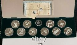 Canada 1988 Calgary Winter Olympics Proof 1 oz Silver 10 Coin Set with Box & COAs