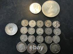 Canadian silver coins $13.50 face value, circulated. Includes large Olympic coin