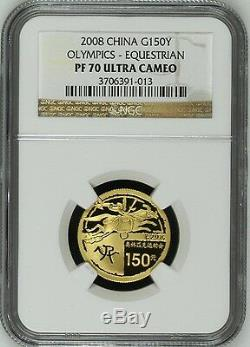 China 2008 Beijing Olympic Set 6 Gold Silver Coins Series I Children NGC PF68-70