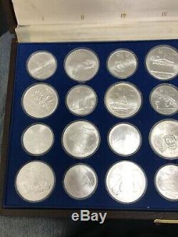 Complete 28 Pc 1976 Canada Olympic Silver Commemorative Coin Set with Case