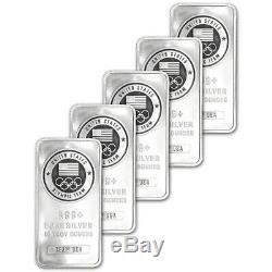 FIVE (5) 10 oz. Silver Bar US Olympic Committee Team USA 999 Fine Sealed