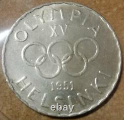Finland Olympic silver coin, 500 Markkaa 1951, RARE