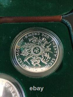 Isle of Man 4-Coin Sterling Silver Proof 1 Crown Set 1980 Moscow Olympics Boxed