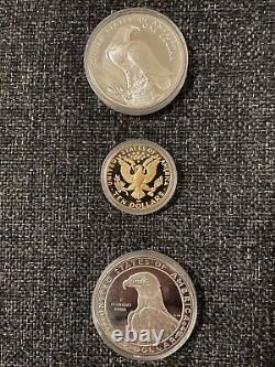 L. A. Olympics 1984-S $10 Gold, and 1983-S & 1984-S $1 Silver, 3-Coin Proof Set