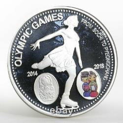 Laos 1000 kip Olympic Games Figure Skating silver proof coin 2014