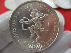 Lot of 10 Mexico Olympic 1968 Silver 25 Pesos AU Coins