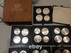 MONTREAL CANADA 1976 OLYMPICS $5 & $10 28 PIECE UNC SILVER COIN SET B9a
